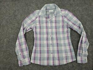 Women's Size XS Omni Shade Fishing Mesh Outdoor Plaid Purple Button Down Shirt