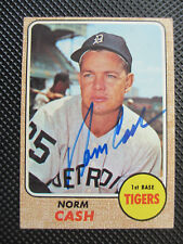 1968 Topps #256 Norm Cash Autograph Card Detroit Tigers World Champions Rare!!