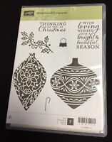 Stampin' Up EMBELLISHED ORNAMENTS Clear Mount - Red Rubber Stamp Set - Brand New