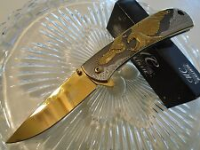 Master Collection Ballistic Assisted Open Gold Chrome Eagles Pocket Knife A043SG