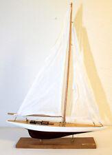 Segelyacht Holz mit Stoffsegel H: 53 cm L: 38 cm Modell Schiff