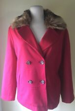 Womens Chicos Red Button Down Jacket Coat With Faux Fur Collar   Size 2