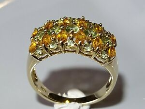 Beautiful Hallmarked 9ct Gold Citrine & Peridot Cluster Ring Size P.5