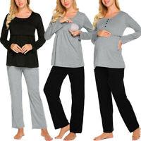 2PCS Women Pregnant Maternity Nursing Solid Long Sleeve Top Pants New Pajama Set