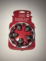 YANKEE CANDLE Santa Illuma-Lid Jar Candle Topper RED/SILVER CHRISTMAS NEW Tags