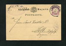 Bayern - Ganzsache aus Landau vom 11.11.1882  (EB-3)