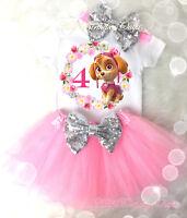 Birthday Princess Frozen Elsa Princess Silver Sequins Headband 5th BirthdayAge 5 Shirt /& Tutu Set Girl Outfit