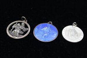 3 x .925 Sterling Silver PENDANTS inc St Christopher, Georg Jensen, Enamel (23g)