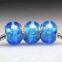 5/10pcs Murano Glass Beads Lampwork Round Spacer Fit European Bracelet LB2