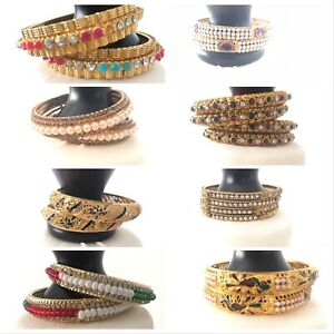 Indian Bangles Jewellery Bangle Set Gold Plated or AD Brand New Design UK Seller