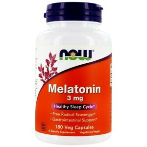 NOW Melatonin 3mg 180 Veg Capsules Healthy Sleep Support