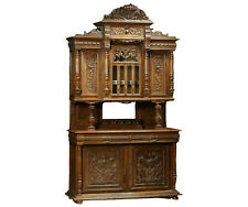 Antique Cabinet, Buffet a Deux Corps, French Henri II, Carved Walnut, 1880s!