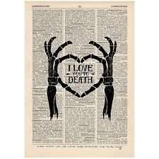 I Love You To Death Dictionary Print OOAK, Anatomical, Art,Unique,Gift,