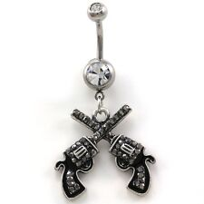 Gray Western Cowboy Cowgirl Revolver Pistol Gun Dangle Belly Button Ring Navel