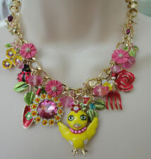 Betsey Johnson Garden Party Gold Tone Flower Chickadee Frontal Necklace NWT