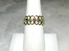 14K YELLOW GOLD REVERSED HEARTS MULTICOLOR GEMS BAND