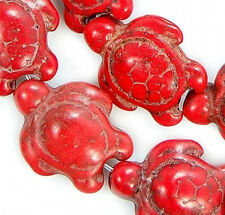 Red Howlite Turquoise Carved Turtle Spacer Loose Beads 13x 17mm 16'' Strand