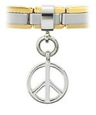 Slider Charm Stainless Steel Peace Sign Fits 4mm Bracelet Anklet Free Shipping