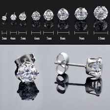 2PCS 316L Surgical Stainless Steel Round Clear CZ Stud Earrings (Multiple Sizes)