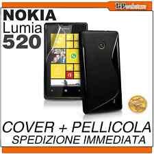 COVER per NOKIA LUMIA 520 NERA NERO SLINE + PELLICOLA IN PLASTICA - POSTA1