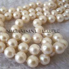 "34"" 8-10mm AA White Freshwater Pearl Necklace Strands Jewelry"