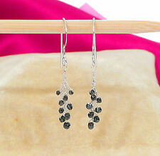 natural authentic black diamond bead wire wrap cluster earrings sterling silver