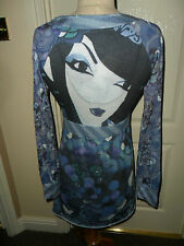 "DESIGUAL blue grey ""Japanese lady"" V neck long sleeve A Line DRESS  Size M"