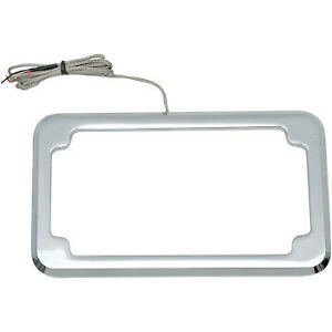 Cycle Visions Beveled License Plate Frame Chrome with Plate Light CV-4616