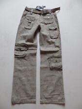 Leinen Cargo Hose Gr. XS, 34, khaki ! NEU ! Urban Style Leinenhose, mit Gürtel !