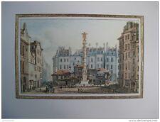 reproduction gravure vue de la place et de la fontaine du Chatelet 1754 - 1826