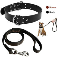 Black/Brown Heavy Duty Real Leather Dog Collars and Lead Set for Small Large Dog