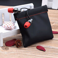 Universal PU Leather Drawstring Bag USB Cable Earphone Headset Package Case S