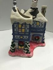 PartyLite Tealight House Up On The Rooftop Wind-Up Motion Music Box