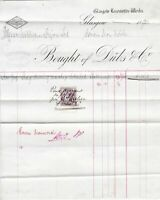 Glasgow Locomotive Works Duls & Co.1895 As Monthly Sment Stamp Invoice Ref 41527
