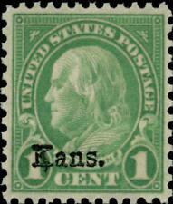 "1929 1c Benjamin Franklin ""Kansas Overprint"" Scott 658 Mint F/Vf Nh"