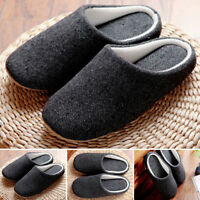 New Men Winter Soft Warm Indoor Slippers Unisex Home Slipper Shoes Fashion Black