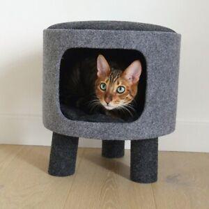 Rosewood Cat Walk Charcoal Grey Felt Stool Hideaway - NQP