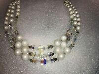 VINTAGE FAUX PEARL & WHITE BEAD & CAPPED AB CRYSTAL GRADUATED 3 STRAND NECKLACE