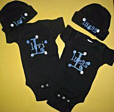 Personalized Monogram Baby Boy Girl Name TWINS HAT & CREEPER Romper T Shirt SET