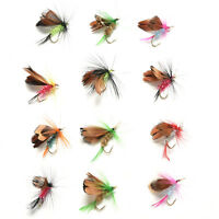 12Pcs Wet Dry Trout Flies Fly Fishing Bass Lure Hook Stream Vintage Tackle   EW