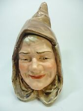 Vintage Humidor Tobacco Storage Jar / Majolica Hooded Monk Face Figural . Rare
