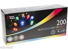 200 Multi Colour Coloured Led Xmas Christmas Fairy Tree Lights - multi action