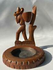 Old Wood Carving Mexican Mystery Primitive Folk Art Sombrero Man Figure Ash Tray