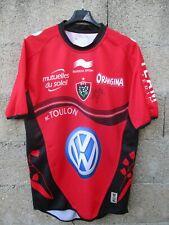 Maillot rugby R.C TOULOUN 2014 signé dédicacé BURRDA SPORT rouge home shirt L