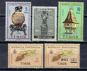 Portugal TIMOR (3) 5 timbres différents neufs