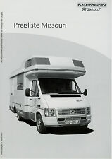 Karmann Missouri Preisliste Reisemobile 8 03 price list motor home 2003 Preise