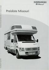 Karmann Missouri Preisliste Reisemobile 8 03 price list motor home 2003 Preise
