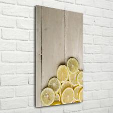 Wandbild Druck auf Plexiglas® Acryl Hochformat 70x140 Zitronen auf dem Holz