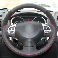 Black Leather Suede Car Steering Wheel Cover for Mitsubishi Lancer Outlander ASX