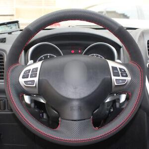 Black Leather Suede Car Steering Wheel Cover for Mitsubishi Lancer Outlander ASX